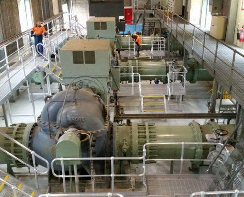 Aluminium platforms at Hinze Dam for SEQ water pump room