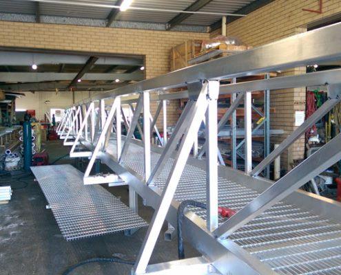 aluminium walkway being built in workshop